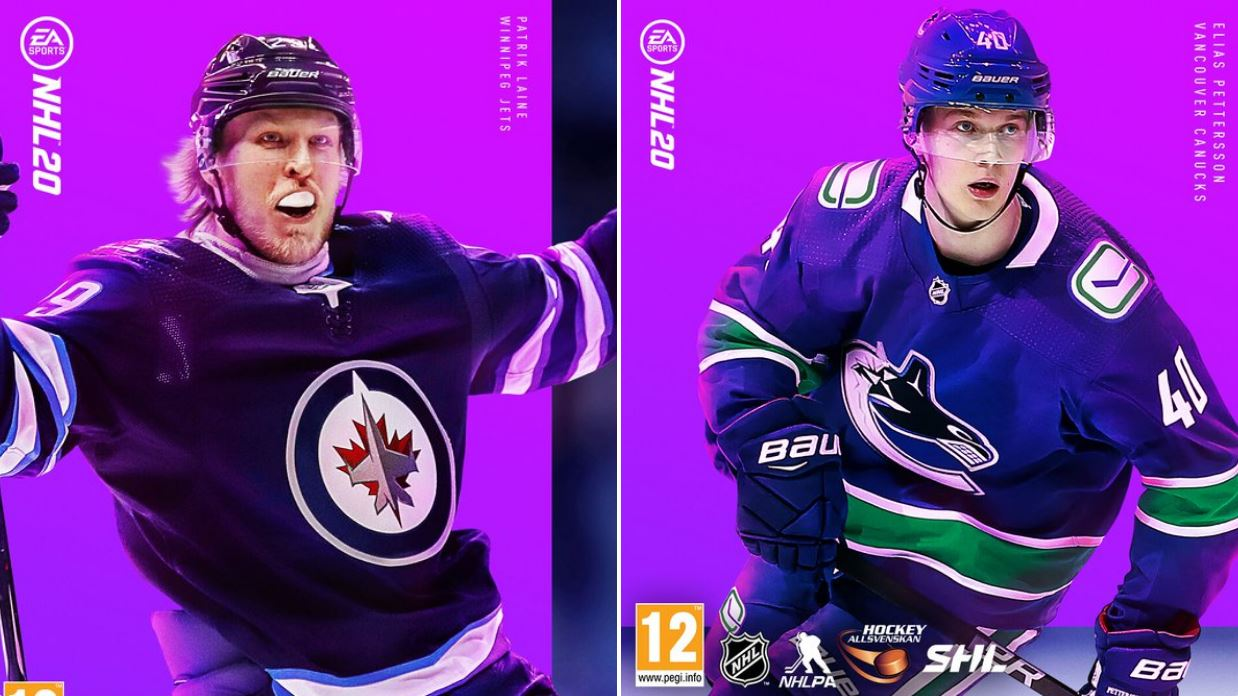 Patrick Laine et Elias Pettersson en couverture de NHL 20 en Suède et Finlande